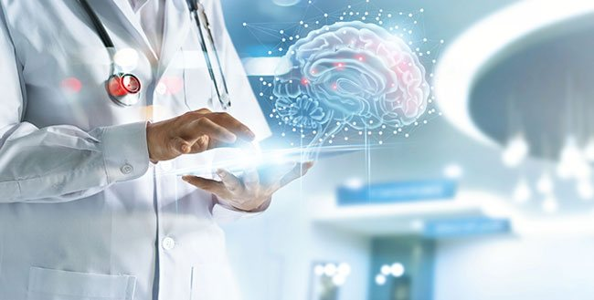 Doctor holding tablet with picture of 3D Brain